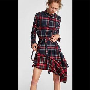 Zara- Plaid Asymmetric Shirt Dress